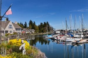 Pickleball and Seniors - Waterview of Bainbridge-Island with boats docked. Home of pickleball.