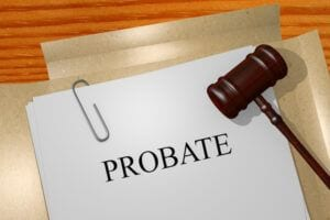 Probate Written on Paper with Gavel