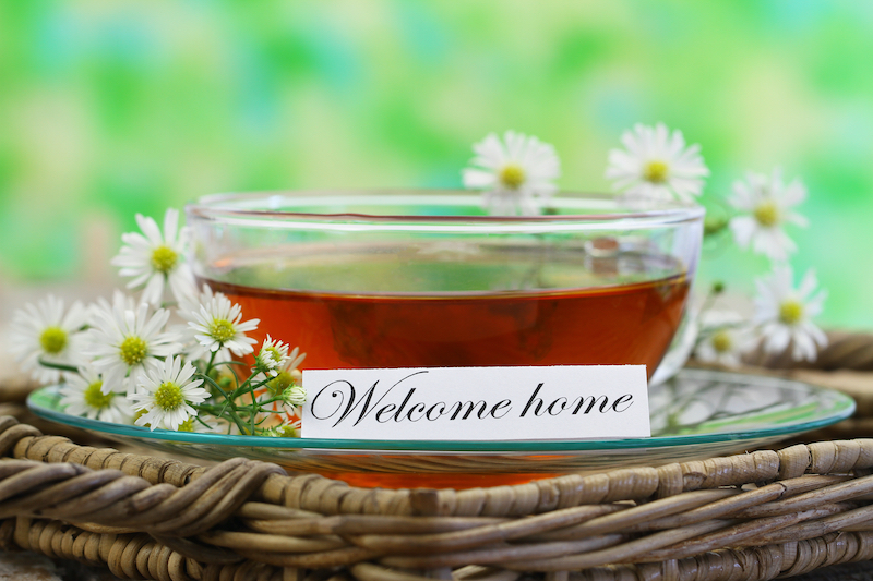 Welcome Home Note with A Cup of Tea