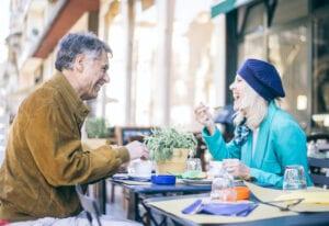 Senior Couple Talking Over Coffee