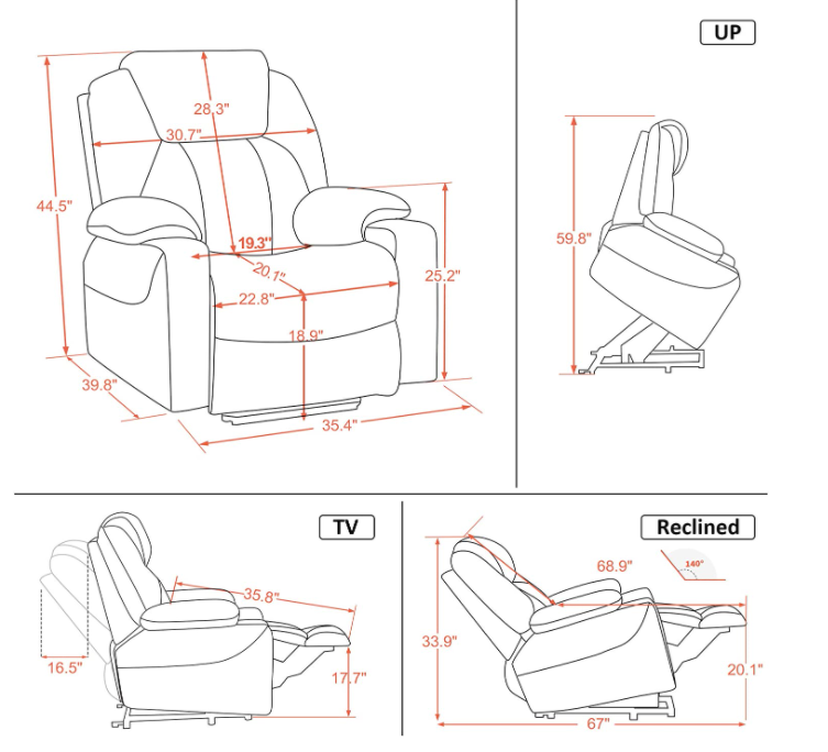 5 Best Power Lift Recliner Chairs - Mcombo Dimensions