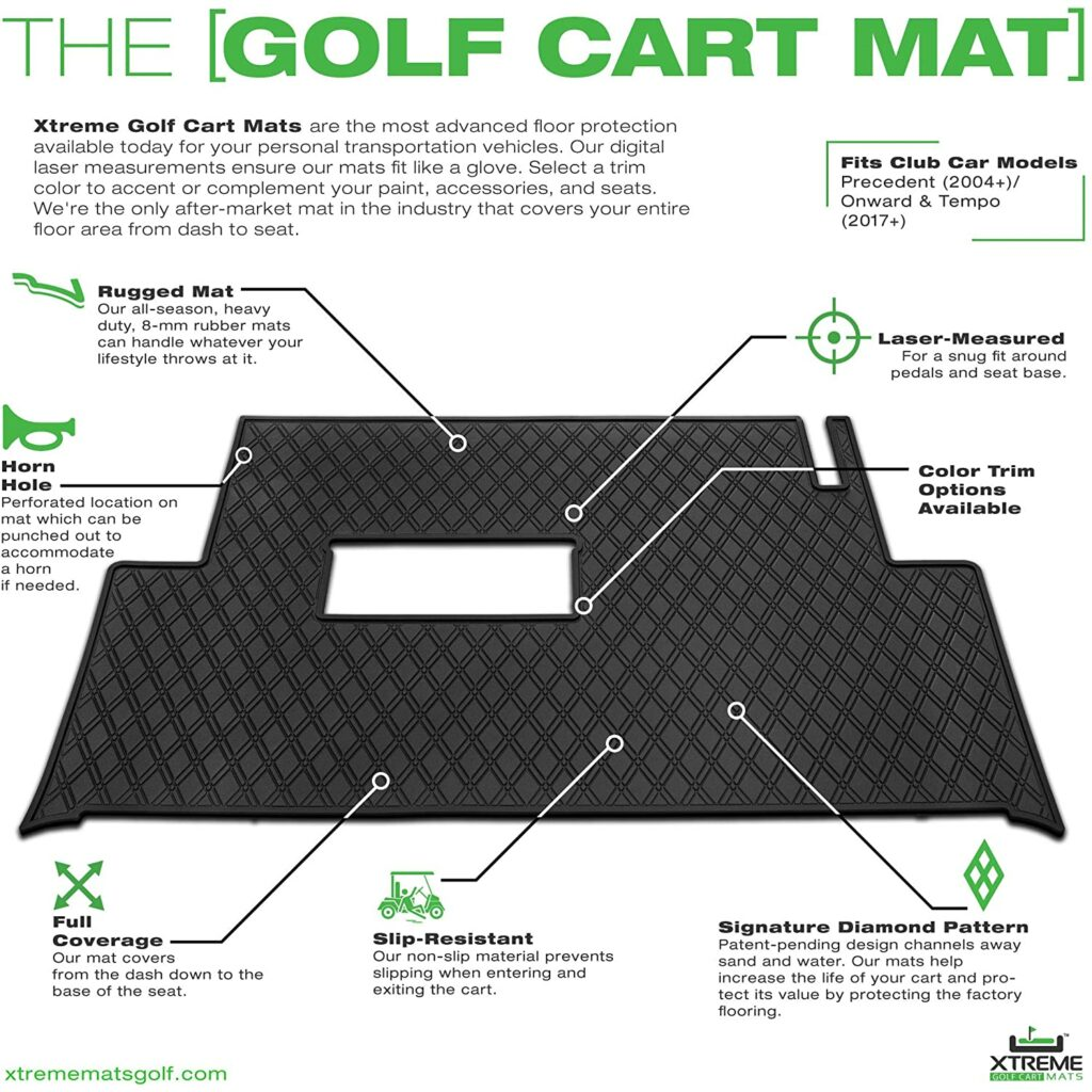 Xtreme Mats Full Coverage Floor Liner Mat for Club Cars -Features