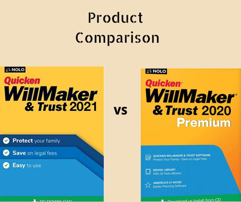 Quicken WillMaker & Trust 2021 vs Quicken WillMaker & Trust 2020 Premium